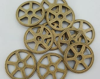 Tibetan Antique Brass Cog 20mm Round Wheel Charms - Watch Parts Gears - Victoriana Steampunk Charms  - 10 Pieces