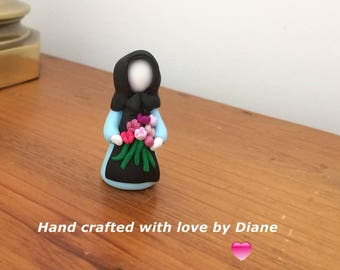 Miniature Hand Sculpted Polymer Clay Amish Lady with Flowers Figurine  - Country Decor