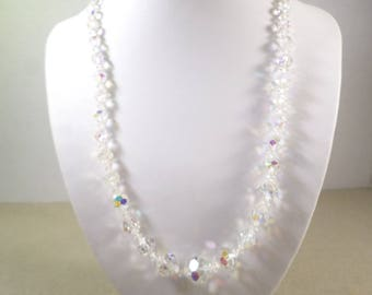Beautiful Vintage Gold Tone Crystal Faceted Aurora Borealis Graduated Beaded Necklace With Beautiful Clasp  DL#2800