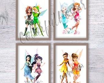 Disney fairies set of 4 Tinkerbell watercolor print Disney fairy watercolor poster Baby shower gift Neverland wall decor Kids wall art V265
