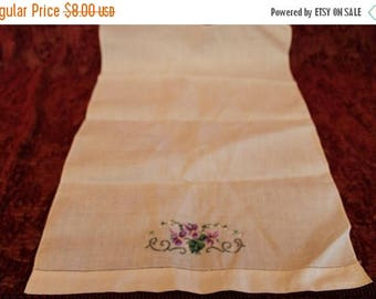 Christmas in July White Linen Chair Back Doily with Embroidered Purple Flowers