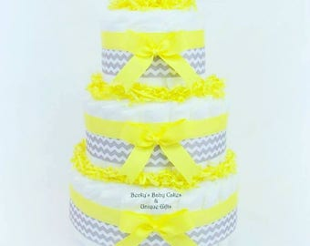 Yellow and Gray Diaper Cake, Diaper Cake, Baby Shower Centerpiece, Baby Boy Shower Centerpiece, Diaper Centerpiece, Chevron Diaper Cake