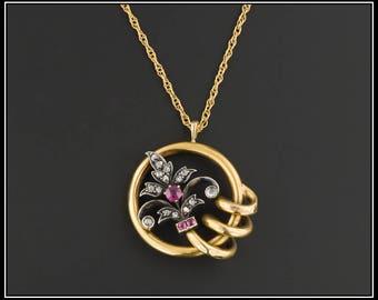 18k Gold Diamond & Ruby Fleur De Lis Pendant | Antique Pin Conversion Necklace | 18k Gold Pendant with Optional 14k Chain