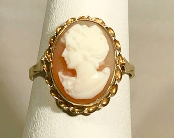 Estate Vintage Cameo 14k Yellow Gold Ring