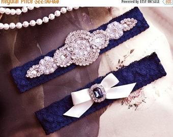 ON SALE Wedding Garter Set, Crystal Rhinestone Garter Set on a Navy Blue  Lace Garter Set with Pearl & Rhinestone