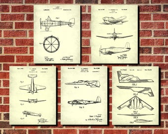 Airplane Decor, Aircraft Wall Art, Patent Prints, Set 5 Flying Posters, Aircraft Prints, Aeroplane Wall Art, Flying Decor, Pilot Gift