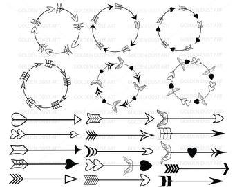 Arrow svg clipart circle arrow vector heart arrow digital