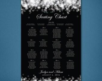 PRINTABLE Bokeh Wedding Seating Chart • Black & White Reception • Alphabetical Seating Board • Seating • Seats Plain Modern Poster • Digital