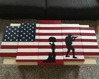 American Flag 5 Piece Canvas Set