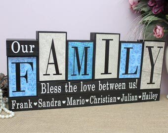 Christmas Gift for Family, Our Family Personalized Home Decor Wood Blocks, Parents Anniversary Present, Gifts for Home, Mom Birthday Gift