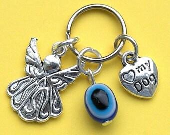 Dog Collar Charm with Evil Eye Protection Angel & Love My Dog Heart New LB14