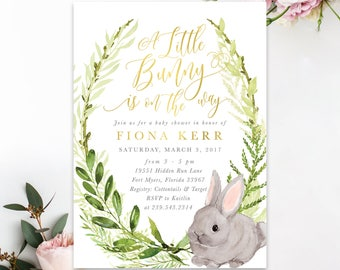 Bunny Baby Shower Invitation, A Little Bunny Is On The Way Invite, Girl Or