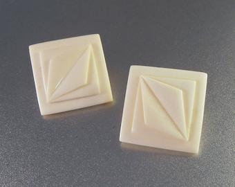 "14K Stud Earrings, Geometric Design Carved Bone, 1"" Square"