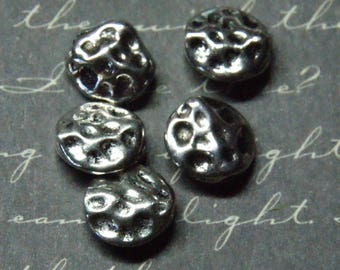 5 puck dented silver 10mm beads