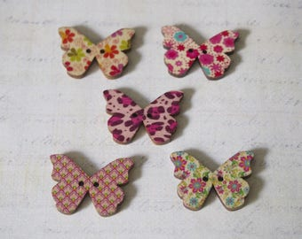 5 patterns and wood Butterfly buttons various 28x21mm