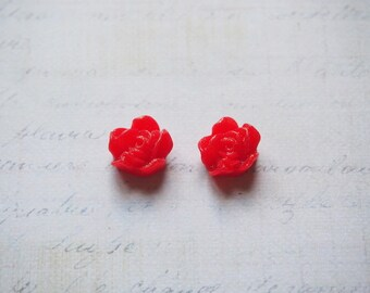 2 red 12x6mm resin flower cabochons