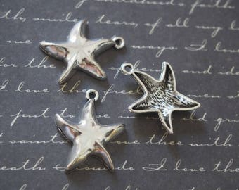 3 charms plump Starfish silver-plated 25x20mm
