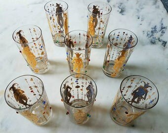 8 Culver Mardi Gras, Mid Century, Jester, Vintage Highball Glasses, Gold, Barware, Jewels
