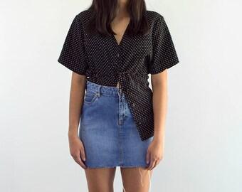 90s Ditsy Dot Black n White Blouse / Tie Back Button Down / Medium-XLarge