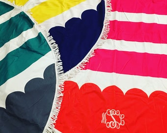 Circle beach towels! Fringe! Monogrammed personalized and so cute! Great gift! Good size! So soft and fun!