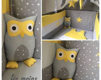 Plush or plush OWL or yellow and grey OWL unique and original handmade gift