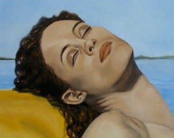 "Oil painting ""Lake Champlain"", 2014, female portrait"