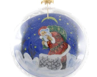 Santa With Gifts Reverse Hand Painted Christmas Ball.