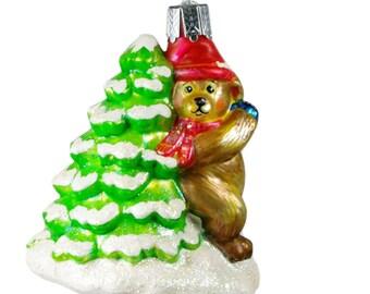 Bear Cub By Christmas Tree