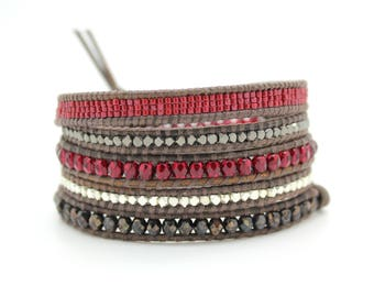 Red and Jet Bronze Sectioned Wrap Bracelet on Natural Grey Leather