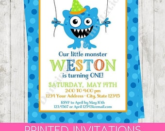 SALE Custom PRINTED Silly Monster Birthday Invitations - Monster, Silly Monster, envelopes included