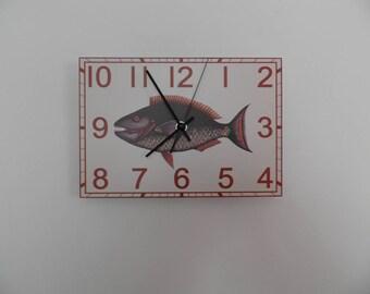 Rectangular ugly fish wall clock, fish, lobby Boy room Quiet clock. German clockwork. White Blue Black , Housewares, office wall clock