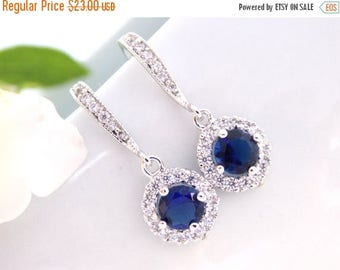 SALE Wedding Jewelry, Cubic Zirconia,Clear and Navy Blue Earrings,Clear Dark Blue,Silver,Dangle,Bridesmaids Gifts, Bridesmaids Jewelry,Bride