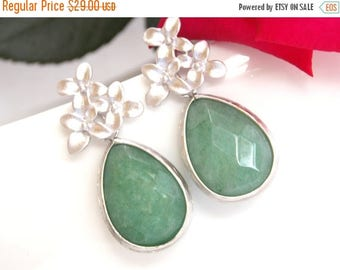 SALE Wedding Jewelry, Bridesmaid Jewelry ,Green Agata, Green Jade, Green, Bridesmaid Earrings, Bridesmaid Gifts, Drop, Silver, Dangle, Gift,