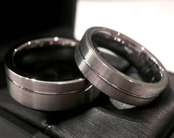 gun metal tungsten wedding bands set matching ring his hers promise ring couples - Couples Wedding Rings
