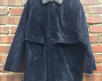Vintage Genuine Blue Suede Jacket with Leather Collar Men's Size 54/56
