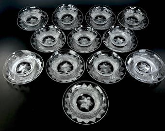 HAWKES American Cut Glass 12 Sets Finger Bowls and Underplates SIGNED