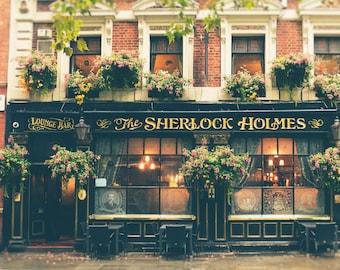 London Pub, London Photography, Sherlock Holmes, British Decor, Office Decor, Travel Photo, England, Fine Art Print, Wall Art