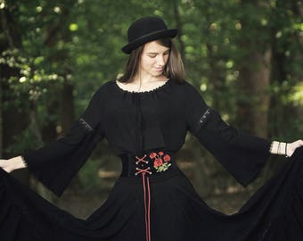 Black gypsy poppy outfit, blouse, full circle maxi skirt and corset belt