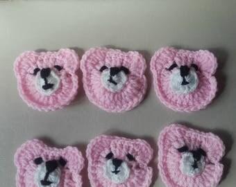 Crochet bear motif, teddy bear applique, crochet bear applique , bear motif, set of 6 bear motif,  ready to ship