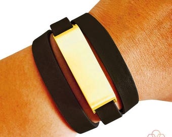 SALE Fitbit Bracelet for Fitbit Flex Fitness Trackers - The KATE Brushed Gold and Black Genuine Leather Buckle Wrap Fitbit Bracelet - Ships