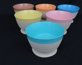 6 Raffiaware Insulated Footed Bowls - Insulated Dessert or Ice Cream Pedestal Dishes