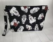 Knitting Sheep on Black Large Zipper Knitting Project Bag, shawl sweater size zipper bag WL0023