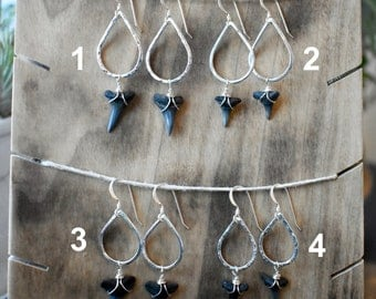Shark Tooth Earrings, Sterling Silver, Fossil Earrings, Boho Style, Sharks tooth, Ocean Inspired, Gifts for Her