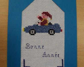 Happy new year card embroidered cross stitch: pixie in car