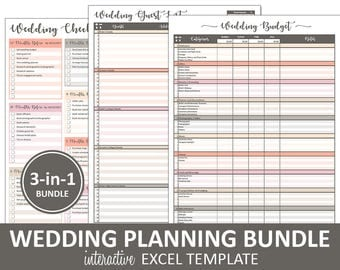 Peachy Wedding Bundle   Wedding Planning Printable Excel Templates | Budget  | Guest List | Wedding