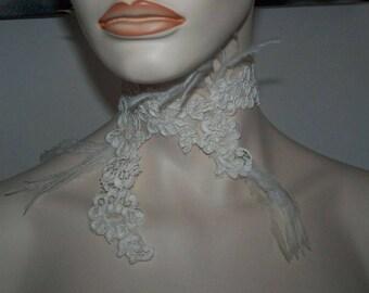 ivory lace necklace set with d piece unique ostrich feathers! wedding