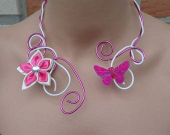 White Fuchsia Flower Butterfly Necklace