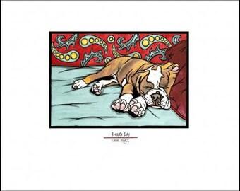 "Rough Day Bulldog - 8""x10"" Unframed Giclee Print"