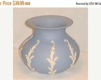 Summer Sale Vintage Vase by ECanada Art Pottery Jasperware in Blue with White Fronds