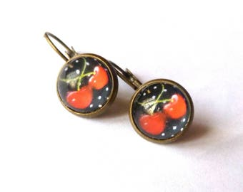 Polka dot cherry earrings glass cabochon Stud Earrings